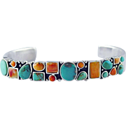 Sterling Silver Southwestern Cuff Bracelet with Turquoise, Coral  & Orange Spiny Oyster