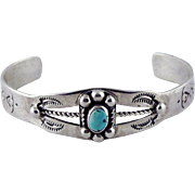 Sterling Silver E. Carviso Native American Turquoise Cuff for Child or Petite Adult