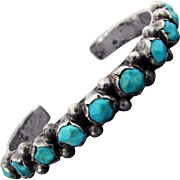 Sterling Silver Native American Turquoise Nugget Cuff Bracelet