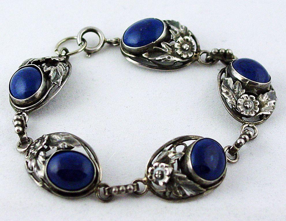 1930 39 s 40 39 s sterling silver lapis lazuli bracelet size. Black Bedroom Furniture Sets. Home Design Ideas