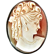 "Hand Carved Shell Cameo Set in ""835"" Silver"