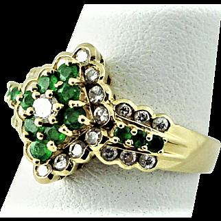 14K YG Emerald and diamond Ring Size 6 3/4