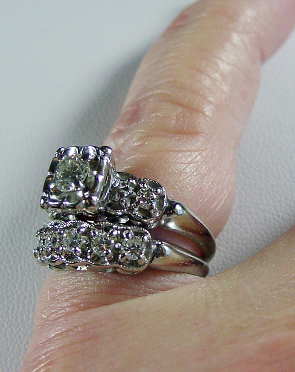14K WG Diamond H I SI vintage wedding ring sets Roll over Large image to magnify click Large image to zoom