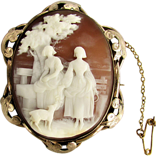 Antique  Cameo of 2 Maidens & Dog - Brooch and Pendant