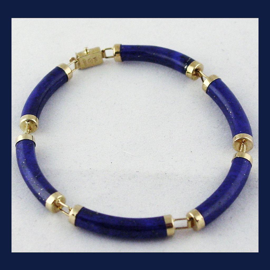 14k yellow gold lapis lazuli bracelet 7 5 8 inches sold ruby lane. Black Bedroom Furniture Sets. Home Design Ideas
