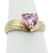 1970's Pink Ice Heart Ring in 14K Yellow Gold, size 7 3/4