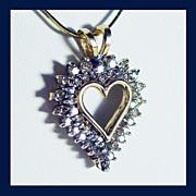 10K White and Yellow Gold Diamond Heart Pendant