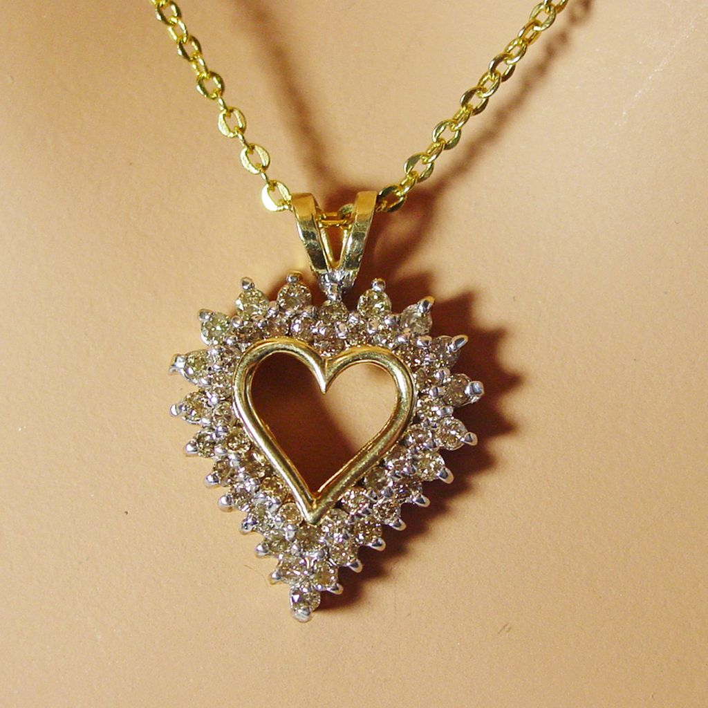 10k yellow gold diamond heart necklace jewelry ideas 10k yellow gold diamond heart necklace hd pictures mozeypictures Choice Image