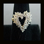 14K Plumb White & Yellow Gold Diamond Heart Ring Size 8 1/2