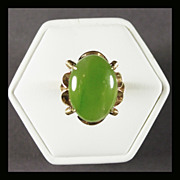 14K Yellow Gold Jade Ring Size  6 1/4