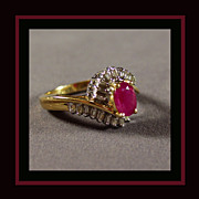 14K Yellow and White Gold Ruby and Diamond Ring Size 7