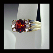 14K Yellow Gold Madeira Citrine and Diamond Ring Size 5 1/4