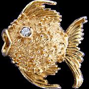 14K Yellow Gold Fish with Diamond Eye Pin