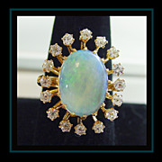 14K Yellow Gold Opal and Diamond Ring Size 9 1/4