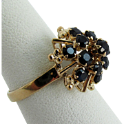 14K Yellow Gold Blue Sapphire Ring Size 6 3/4