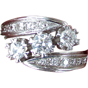1940's - 1950's 14K White Gold Diamond Trilogy Anniversary ByPass Ring Size 7 3/4
