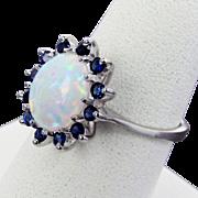 14K White Gold Opal & Sapphire Ring Size 8 1/4