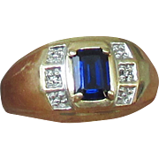 Man's 10K Natural Sapphire Ring Size 10 1/2