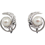 "1930's - 40's Akoya Cultured Pearls in ""Japan Silver"" Earrings"