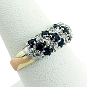 Circa 1960's - 70's, 14K Yellow Gold Sapphire and Diamond Ring Size 8
