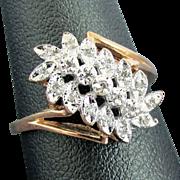10K Yellow Gold Diamond Ring Size 9 1/4