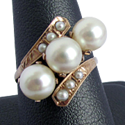 1940's - 50's 14K Pink Gold Ring with Cultured Akoya Pearls, Size 7 1/4