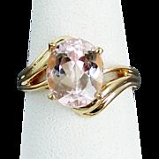 14K YG 3.60 Carat Morganite Ring Size 8