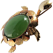 14K Rose Gold Nephrite Jade Turtle Pin / Pendant Combination