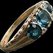 Circa 1910 - 1930's 14K YG London Blue Topaz Ring, Size 5 1/2