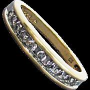 14K Yellow Gold Diamond Band Ring, Size 7