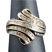 1970's - 80's Diamond Bypass Ring Size 7 1/2