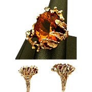 14K YG Custom Made 21 Carat Madeira Citrine Ring Size 9, 19 Gram