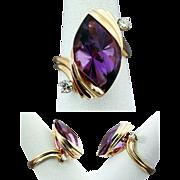 14K YG Strellman Fancy Cut Amethyst Ring with Diamonds, Size 7 3/4