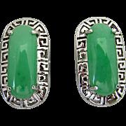 Natural Medium Green Jadeite Earrings in Sterling Silver