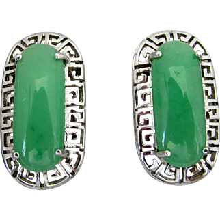 Natural Medium Green Jadeite Earrings in Sterling Silver