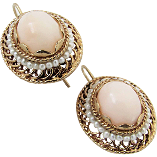 Antique 14K YG Angel Skin Coral Earrings with Seed Pearls