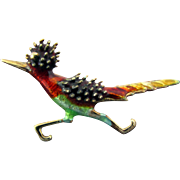 14K Multi Color Enamel Roadrunner Pin