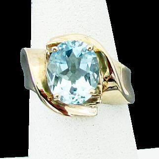 10K YG Aquamarine Ring Size 6