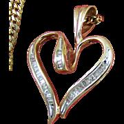 "10K / 14K Pendant & Chain: 10K Diamond Pendant & 14K 19"" Curb Link Chain"