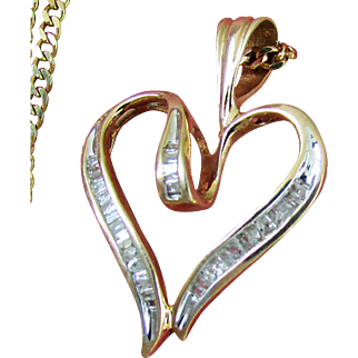 """Yellow Gold  Necklace with 10K Diamond Pendant & 14K 19"""" Curb Link Chain"""