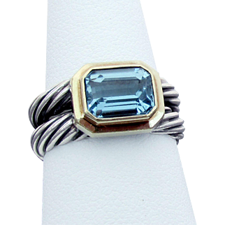 David Yurman Sterling & 18K Albion Cable Ring with Blue Topaz, Size 8