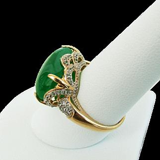 14K YG Green Jadeite & Diamond Saddle Ring, Size 9 1/4