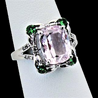 14K WG Kunzite, Tsavorite & Diamond Ring Size 7