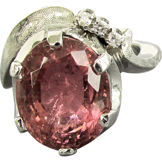 Platinum & 14K WG Rare Natural 8.43 Carat Pink Tourmaline Ring