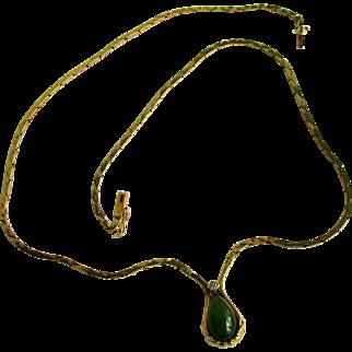11.7 Grams, 14K Nephrite Jade Necklace