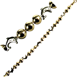 14K WG & YG Italian Dolphin Bracelet