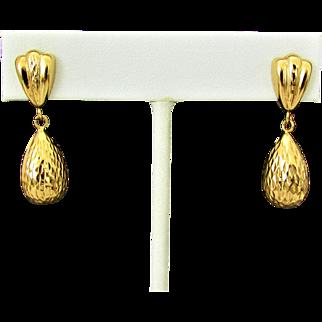 14K YG Teardrop Dangle Earrings