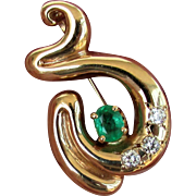 14K YG Emerald and Diamond Pin