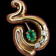 14K YG Emerald and Diamond Pin