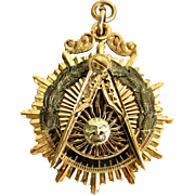 18 Grams, 14K YG Masonic Watch Fob for Past Master Mason 1942 - 1943